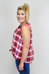 Rayon Plaid Top + Lucky Brand
