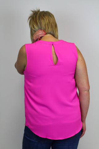 Fuchsia Pealted Tank Top