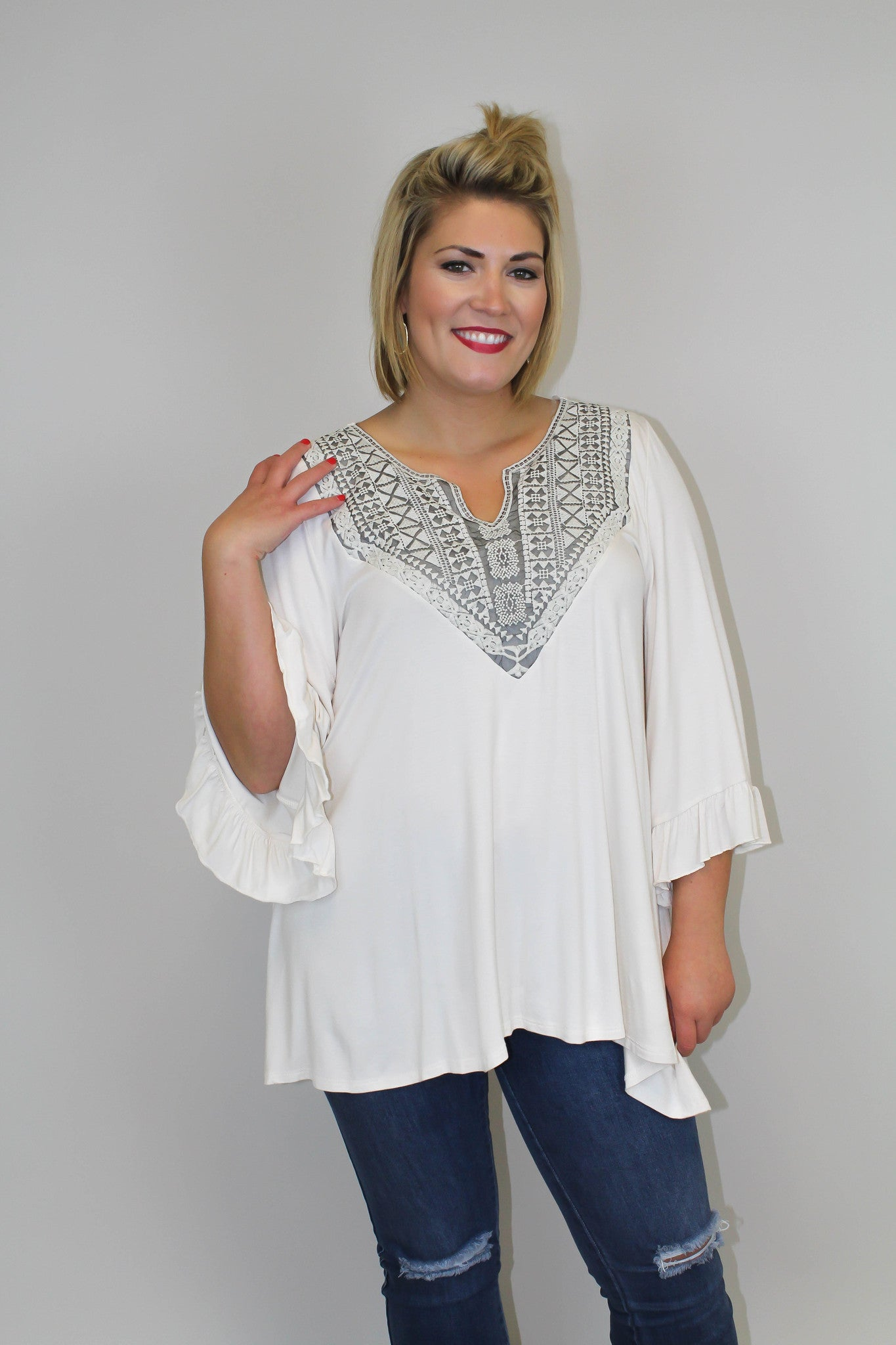Ivory + Grey Detail Top - Plus Size
