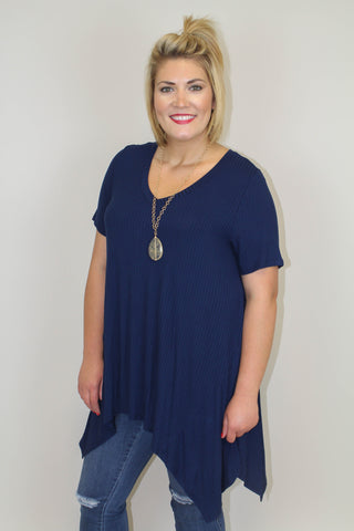 Blue Ribbed Top - Plus Size