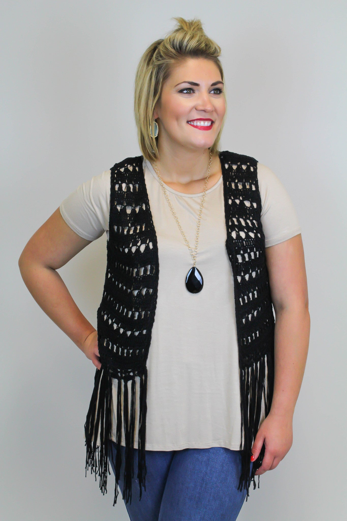 Black Fringe Knit Vest - Plus Size