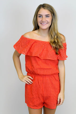 Orange Off Shoulder Romper