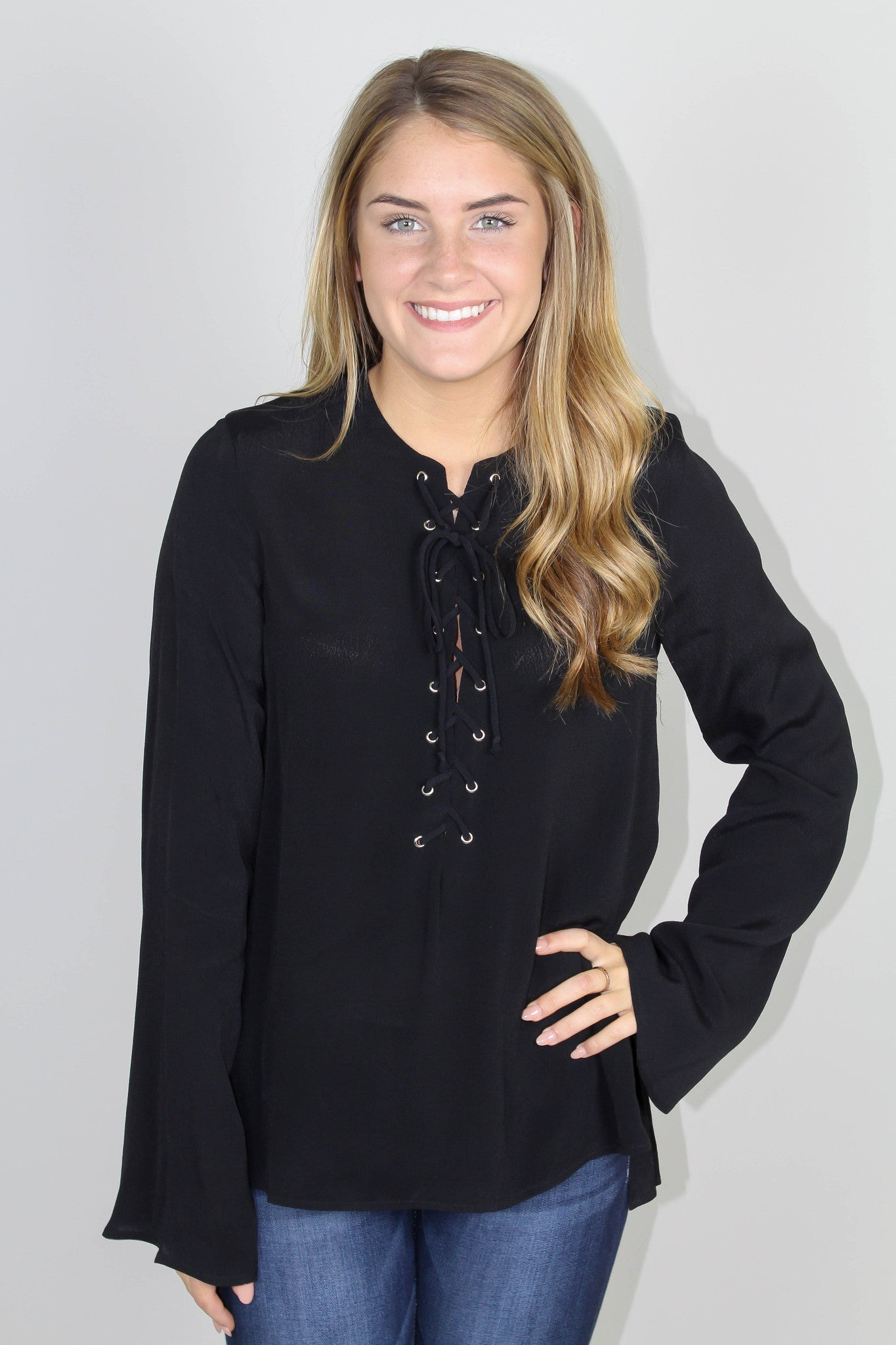 Black Lace Up Long Sleeve Top