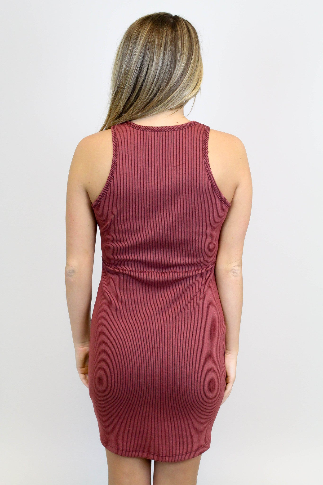 Burgundy + Black Lace Up Bodycon Dress