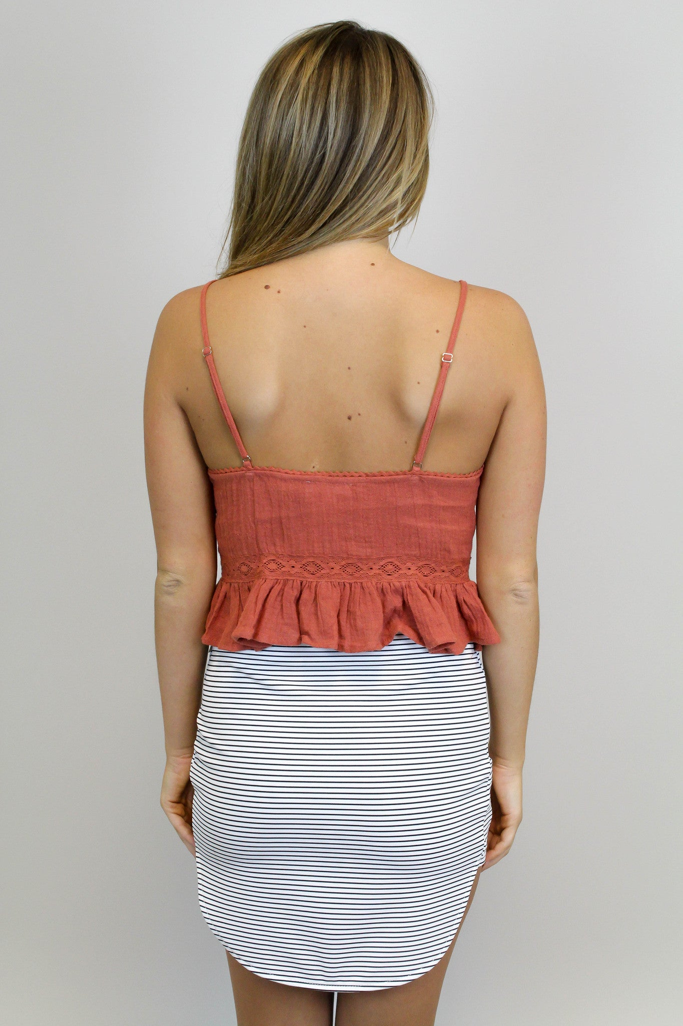 Rust Lace Up Crop Top