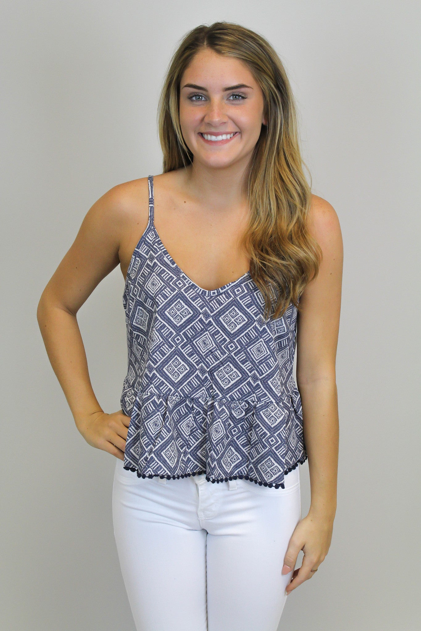 Blue/White Print Crop Top