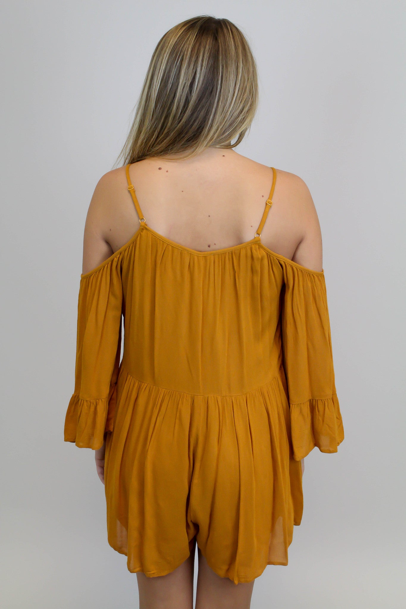 Mustard Cold Shoulder Romper