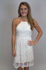 Ivory Lace Halter Dress