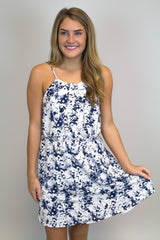 Navy Floral Button Up Dress