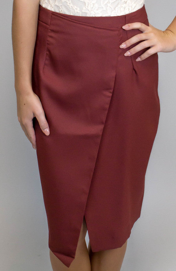 Brick Midi Length Skirt