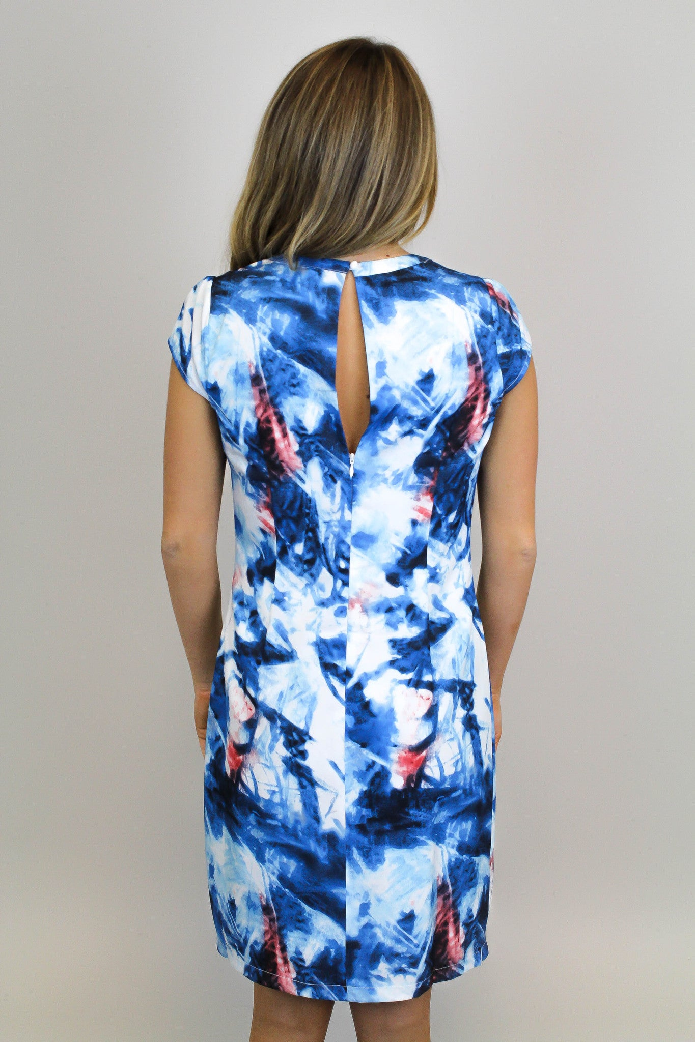 Blue Fitted Print Dress