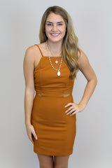 Camel Cut Out Bodycon Dress