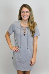 Grey Lace Up Dress