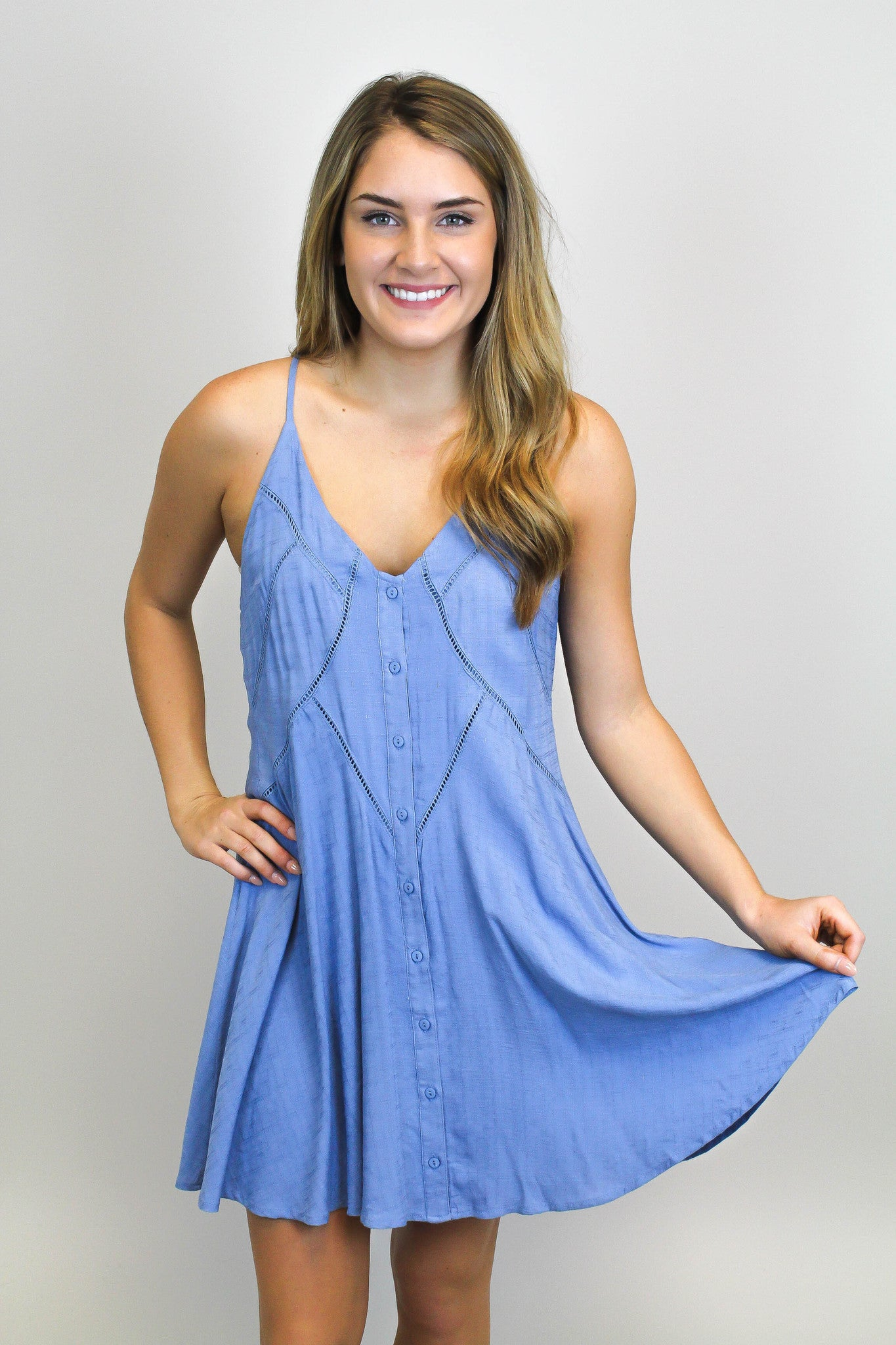 Blue Button Down Dress