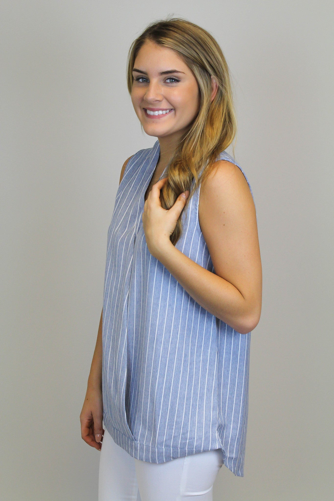 Blue + White Denim Stripe Top