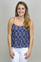 Blue + White Swing Top