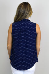 Navy + Ivory Tie Up Top