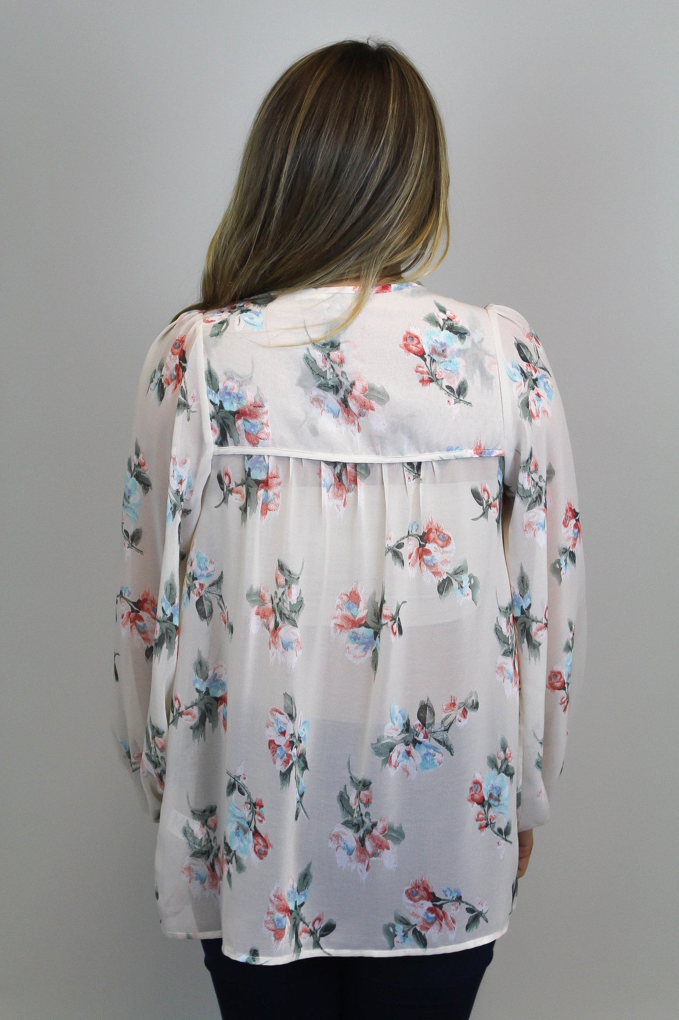 Floral Print Long Slv. Top