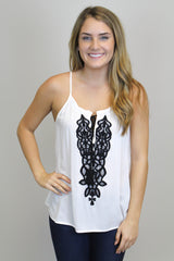 White Top W/Black Embroidery