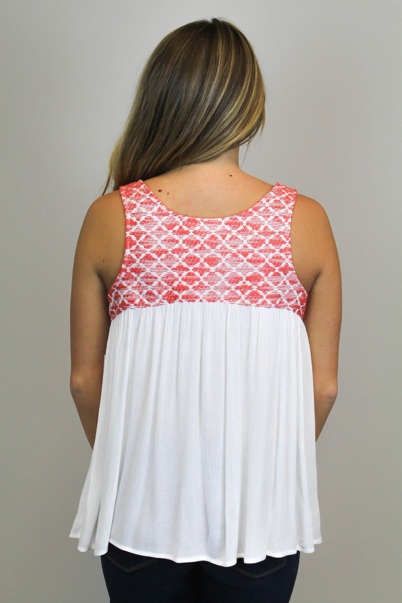 White Embroidery Tank