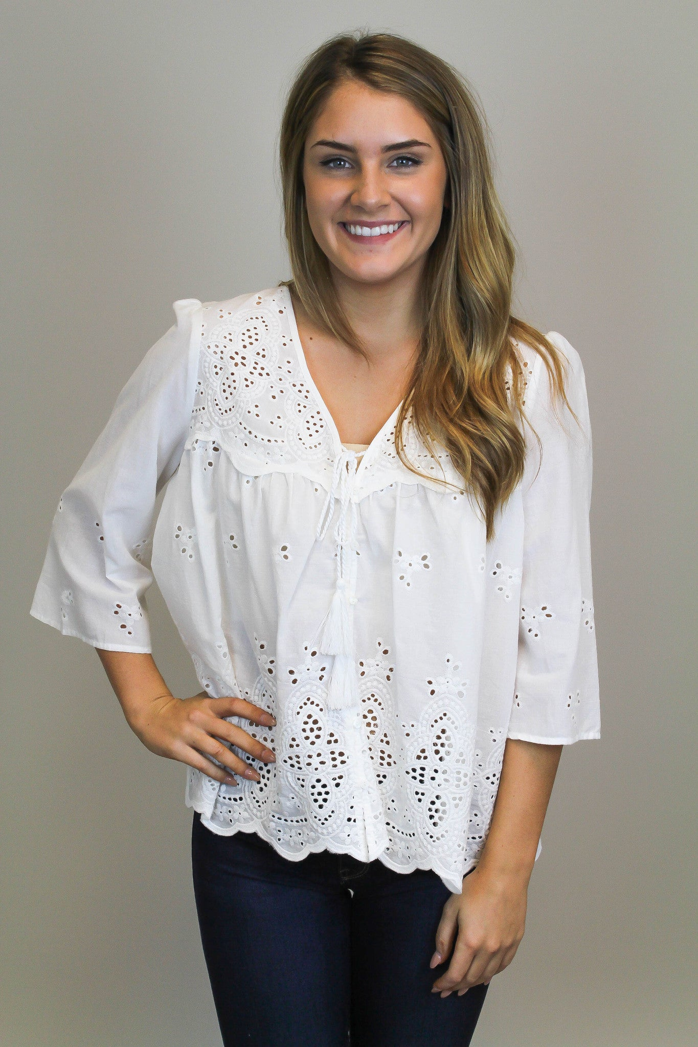White Eyelet Flowy Top