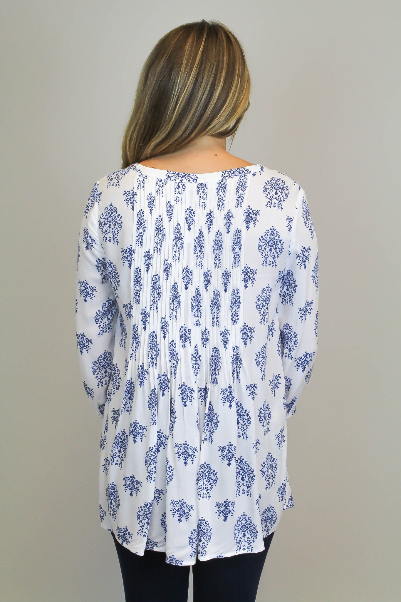 White + Blue Printed Top