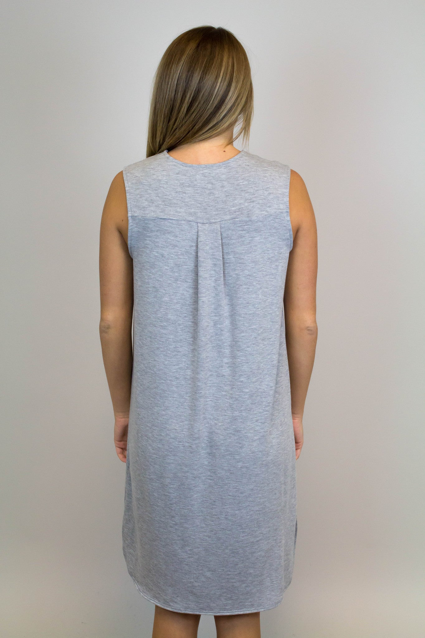Grey V-Neck Knit Dress
