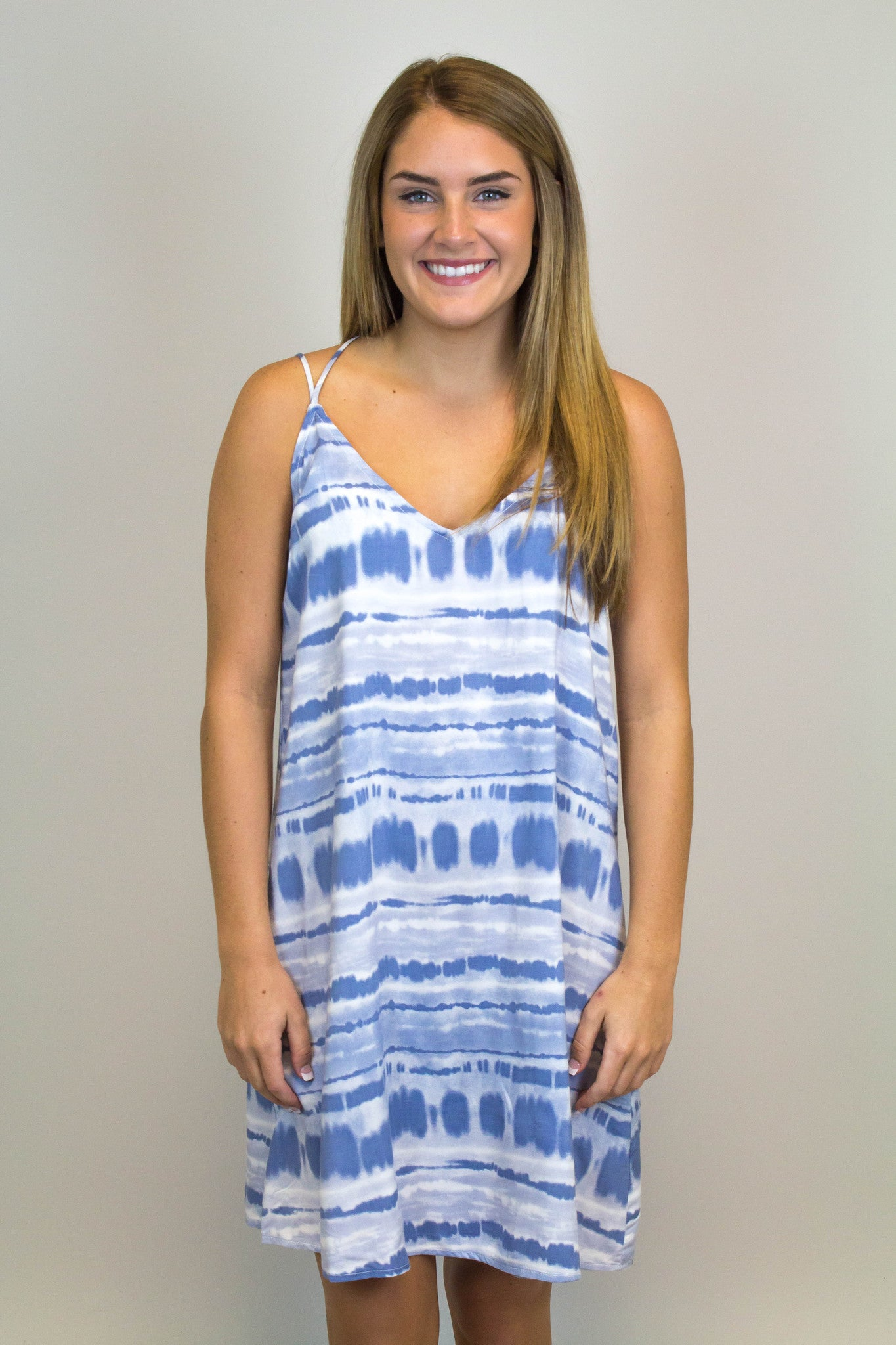Blue Tye Die Shift Dress