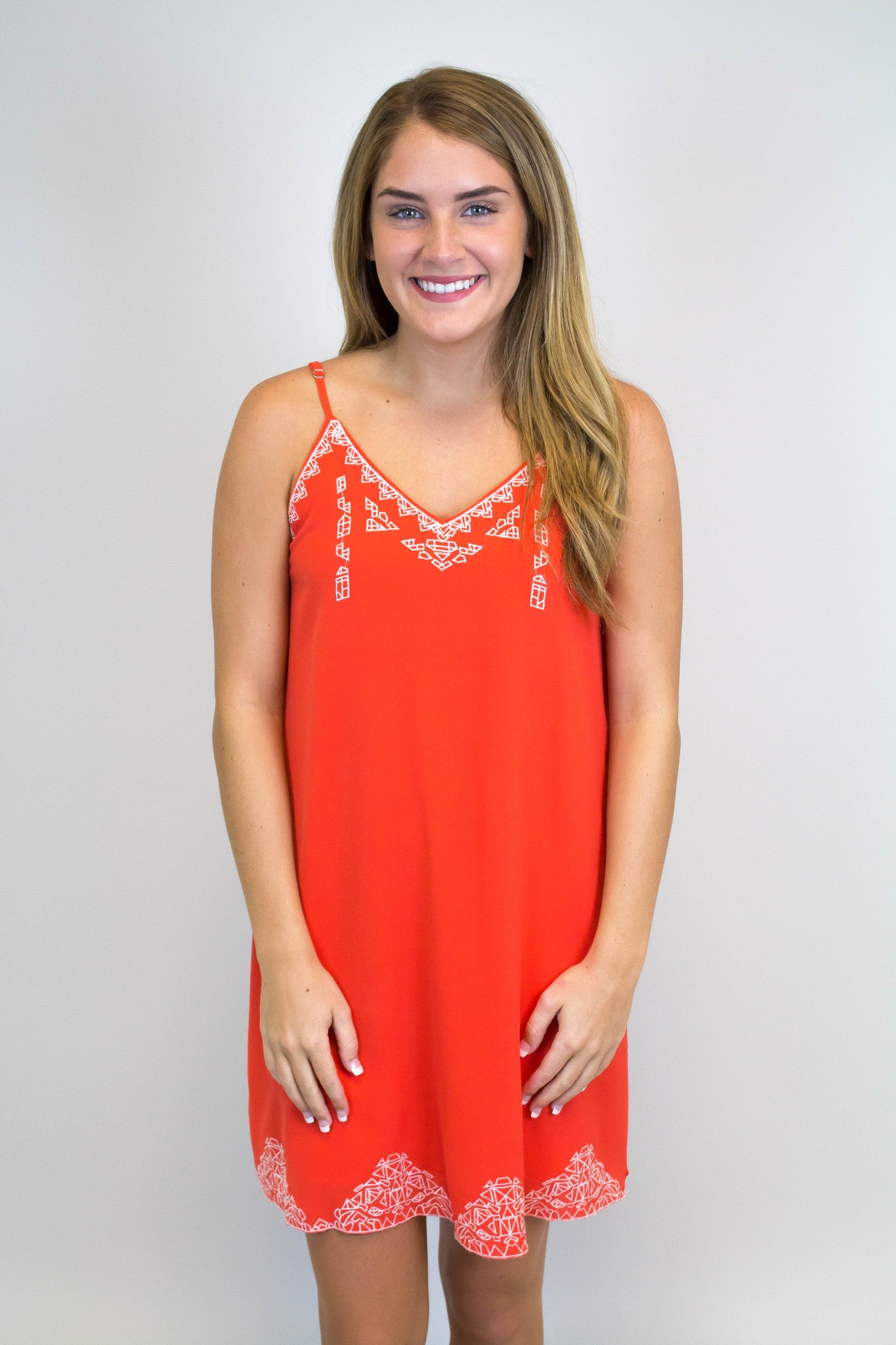 Orange + White Detail Dress