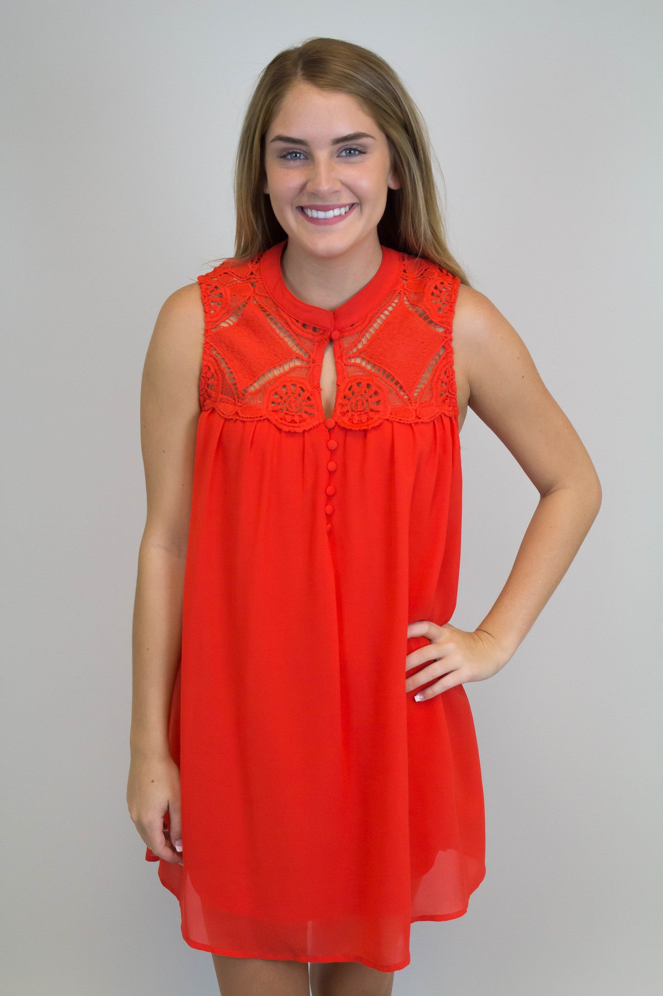 Red Lace Detail Dress