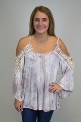 Taupe Tie Dye Off Shoulder Top