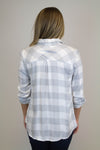 Grey + White Long Sleeve Plaid Top