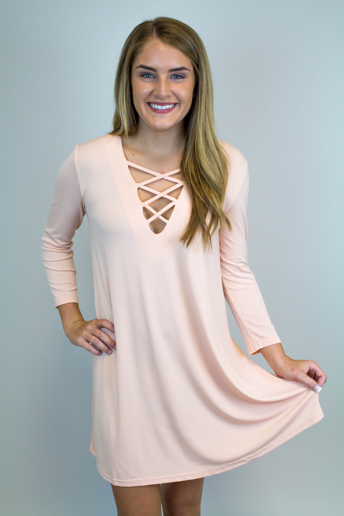 Light Pink Lace Up Dress