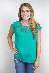 Green Short Sleeve Detailed Top