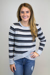 Grey Striped Cross Over Sweater - Luna Boutique