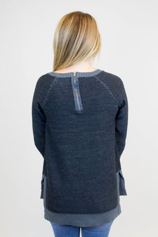 Black Marled Pullover Sweater