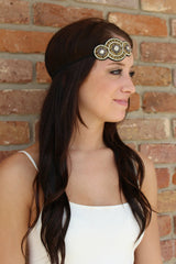 Kylie - Pink Pewter Gold Headband