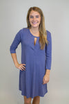 Indigo Keyhole Knit Dress - Luna Boutique