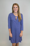 Indigo Keyhole Knit Dress