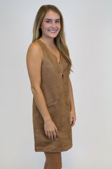 Camel Suede Pocket Dress