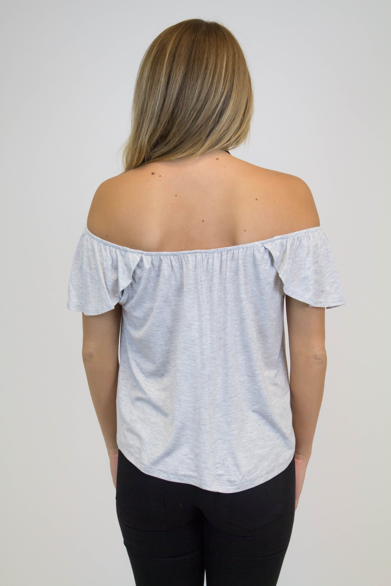 Grey Off Shoulder Top