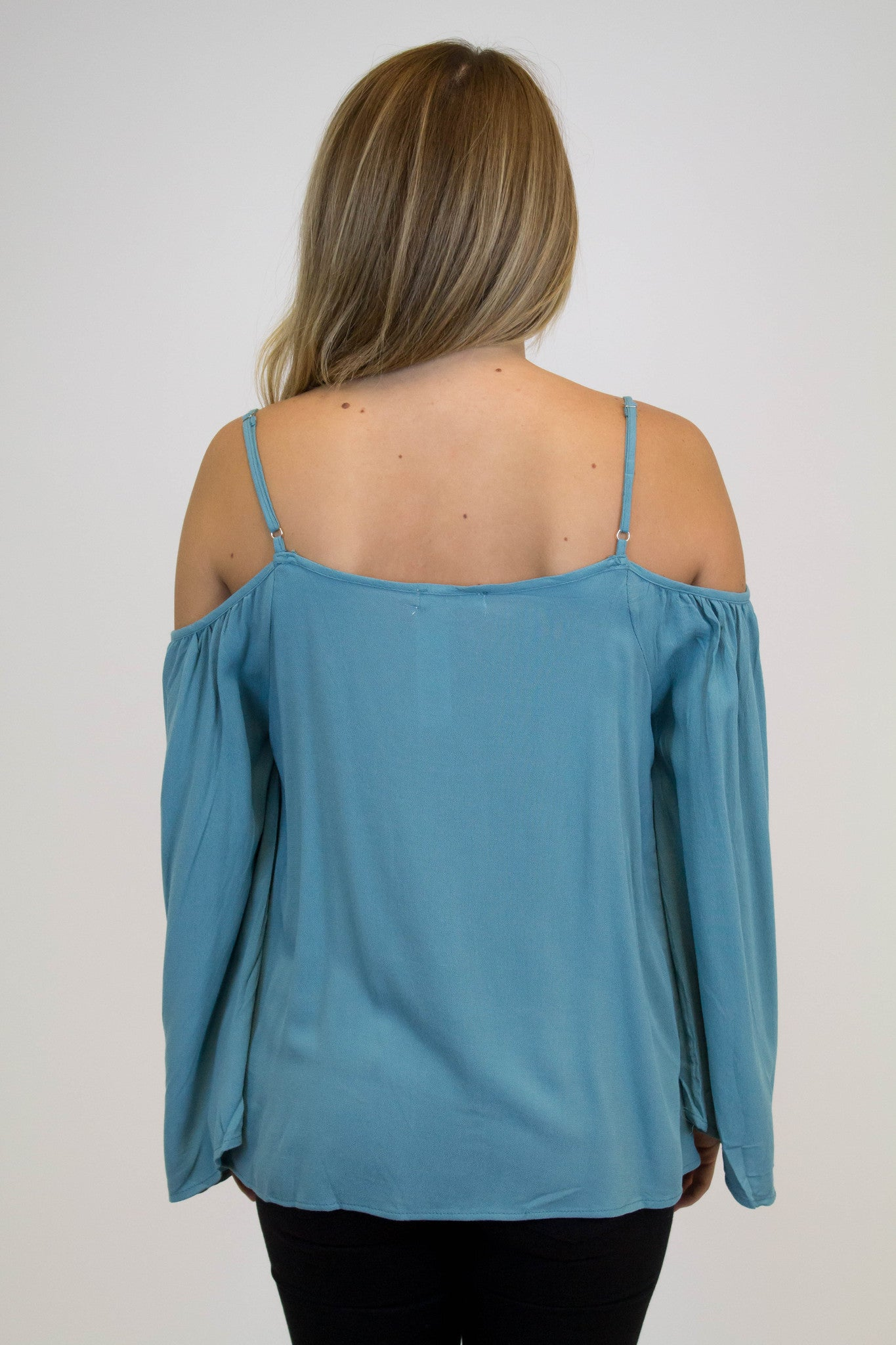 Teal Cold Shoulder Detailed Top