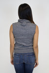 Grey Hi-Neck Wrap Top