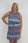 Navy Multi Color Dress + Lucky Brand