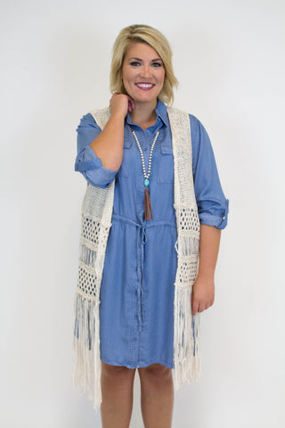 Natural Fringe Vest - Plus Size