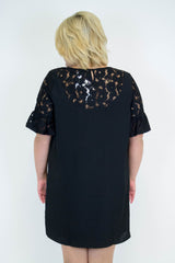 Black Lace Detail Dress - Plus Size