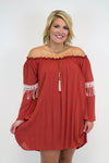 Rust Bell Sleeve Dress - Plus Size - Luna Boutique