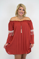 Rust Bell Sleeve Dress - Plus Size