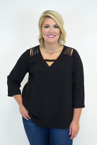 Black Cut Out Blouse - Plus Size