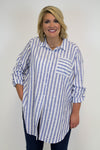 Blue Vertical Stripe Top - Plus Size
